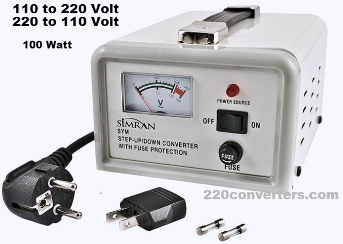 Simran SYM-100 100 W Watt Deluxe Voltage Transformer 220V-110V