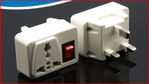 UK Plug Adapter W/ ON/OFF Switch -British Style 3-Pin Square Adapter Plug Type D