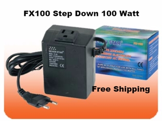 Seven Star FX100 100 W Watts Voltage Converter for Electronics 100w,100 watts,step down,transformer,step down converter,voltage converter,voltage transformer,power transformer,220 volt to 110 volt,220v,110v,power converter,240v,120v,fx00,100w,100 watts,simran,sevenstar,seven star,power,voltage,conversion,adapter,plug