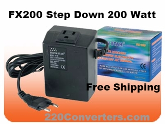 Seven Star FX200 200 W Watt Converter for American Electronics to use in Foreign Countries 220v to 110v 200 Watt fx200, seven star,step down transformer,step down converter,voltage converter,voltage converter transformer,power transformer,220 volt to 110 volt,220v,110v,power converter,240v,120v,fx200,200w,200 watts,simran,sevenstar,seven star,power,voltage,conversion,adapter,plug
