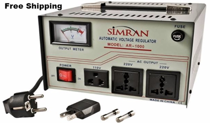 Simran AR1000 1000 W Watt 110v <-> 220v 50Hz/60Hz - Transformer with Regulator