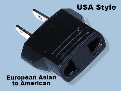 American US to European//Asia Style Plug Europe EU Euro Round Adapter