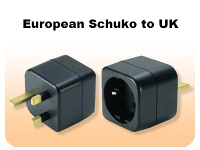 MKV17 European Schuko to UK British grounded adapter plug EU to UK