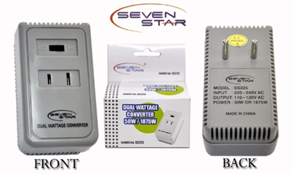 Seven Star SS225 Dual Wattage Converter 50-1875 Watts For Small USA Appliances to use in Foreign Countries seven star ss225, travel converter, 1875w converter, Dual Wattage Converter, travel converters, voltage converter, power converter,50-1875 Watts,SIMRAN SM1875,sevenstar ss225,ss-225, seven star,simran,220v 110v,110 volt, 220 volt,converter,voltage
