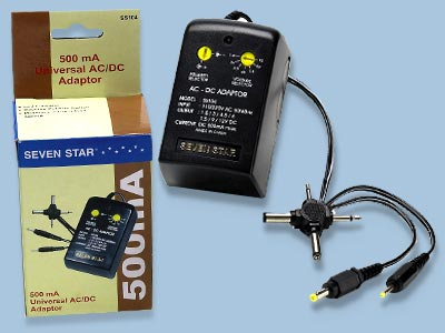 Universal AC/DC Adapter 110/240V 500ma - SS104
