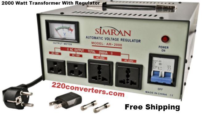 Simran AR2000 2000 W Watt Voltage Stabilizer Regulator 2000W Step Up Down  Converter Transformer 110 220 Volt