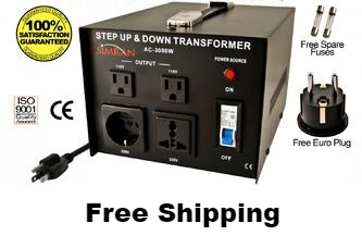 Simran AC-3000W 3000 W Watt Step Up Down Voltage Converter Transformer with Four Outlets